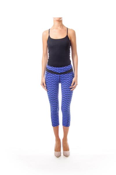 Blue & Black Zig Zag Print Leggings
