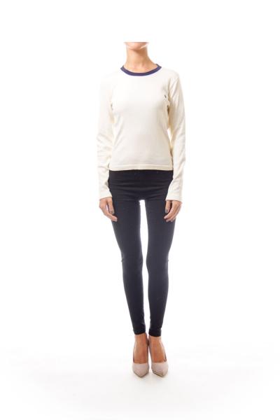 Cream Sweater with Navy Round Neck