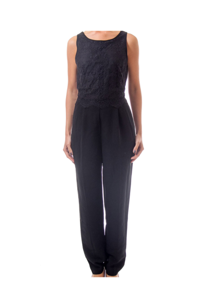 Black Jumpsuit with Lace Top