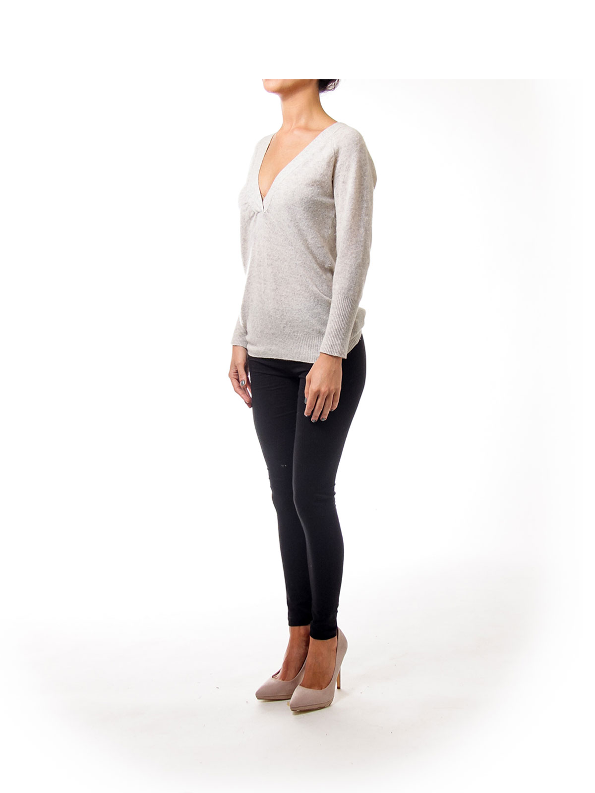Cream V-neck Cashmere Sweater [XS] - SilkRoll