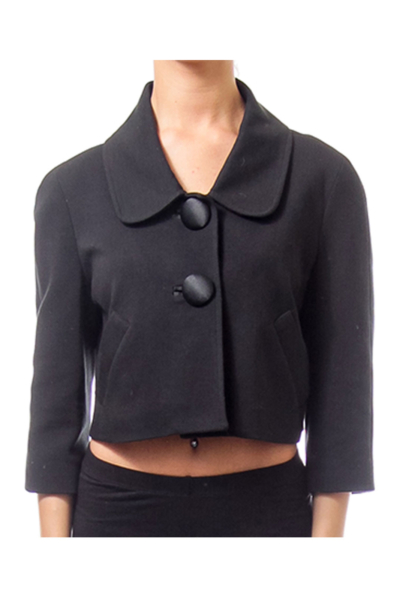 Black Cropped Button Down Jacket