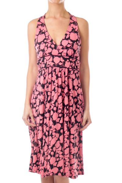 Pink and Black Pattern Halter Dress