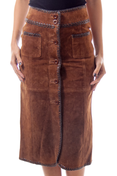 Brown A-Line Leather Skirt