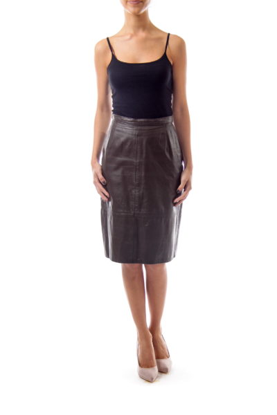 Taupe A-Line Leather Skirt