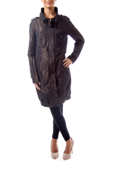 Brown Shear Trench Coat