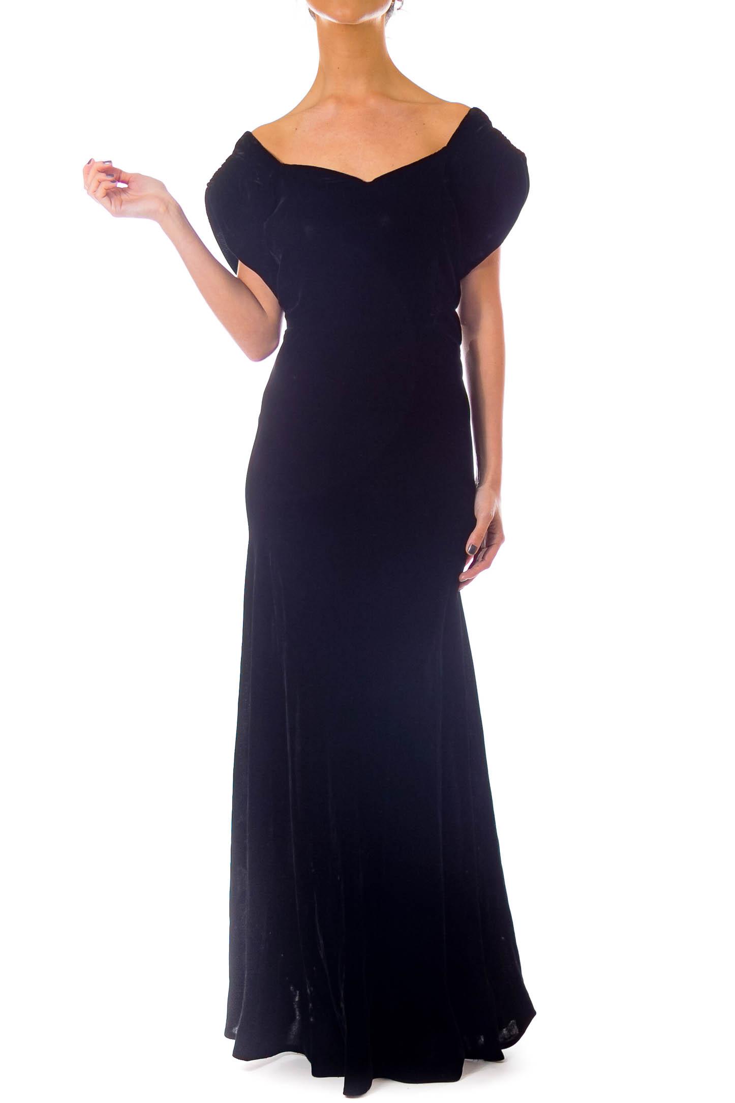 Black Vintage Velvet Gown - SilkRoll
