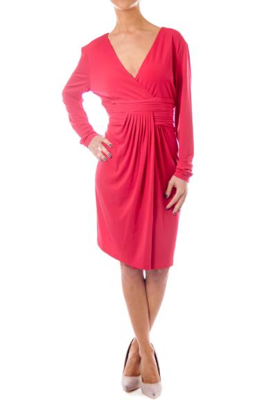 Red Long Sleeve Jersey Dress