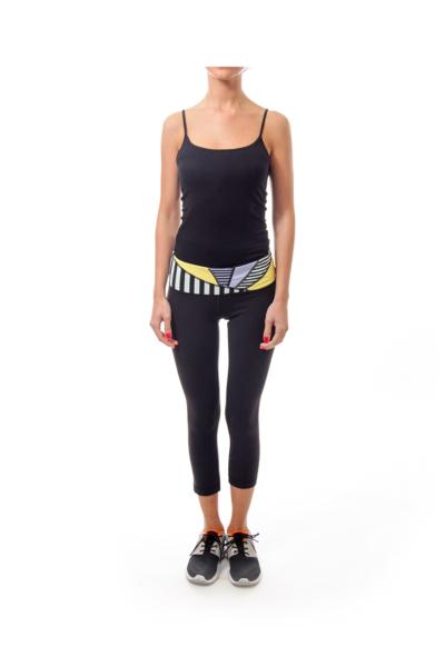 Black Yoga Crop with Geometric Design on Waist