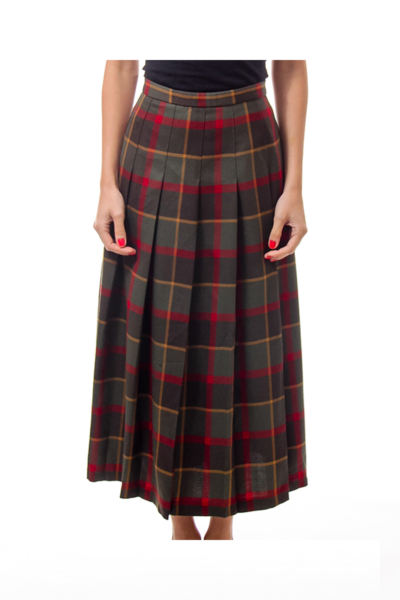 Army Green Vintage Check Pleated Skirt