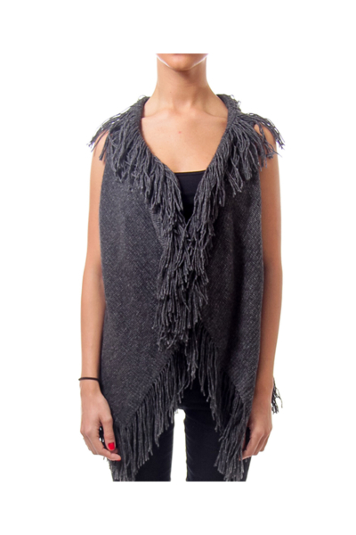 Gray Woven Fringe Vest
