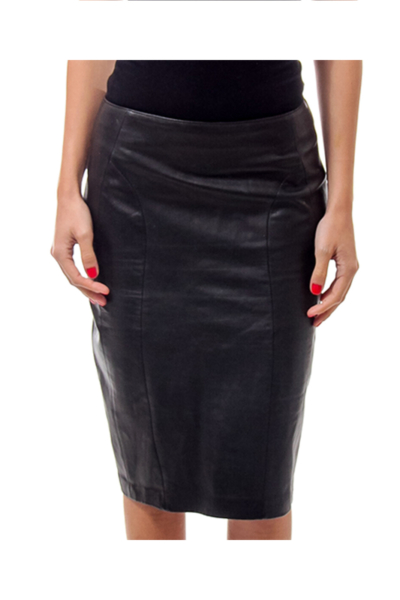 Black Leather Pencil Skirt 2