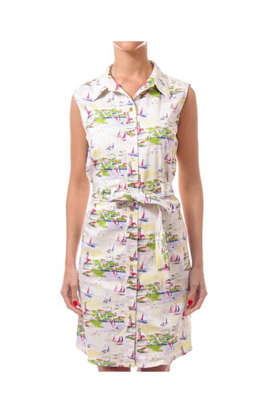 White & Yellow Boat Print Shirt Dress