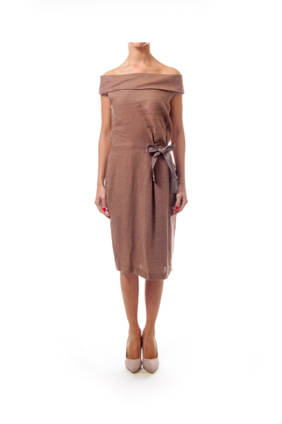 Brown Wide Neck Sheath Dress