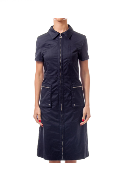 Navy Shirt Zip Up Dress