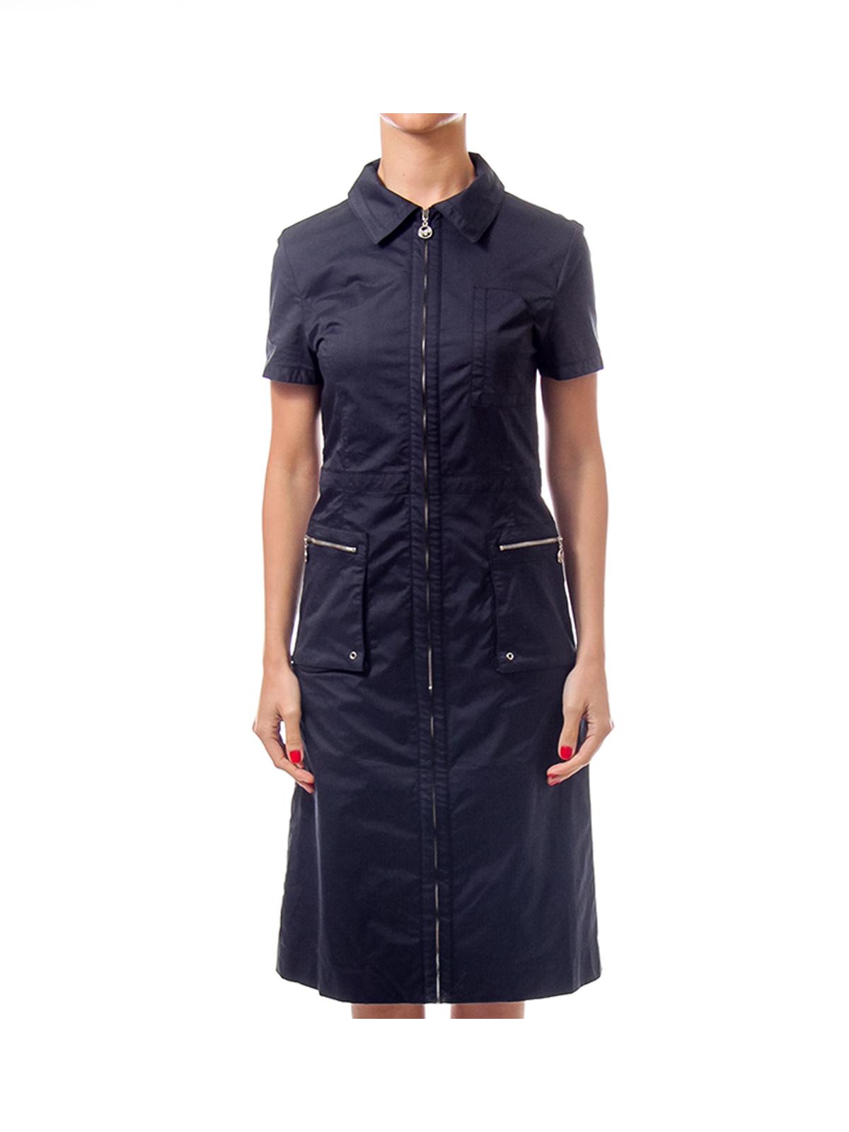 Navy Shirt Zip Up Dress