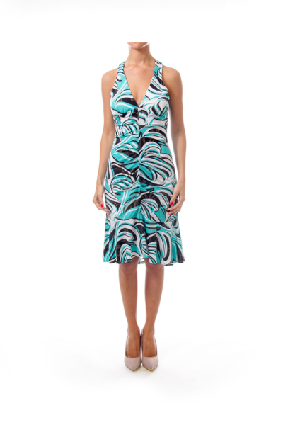 Turquoise Black & White Patterned Dress
