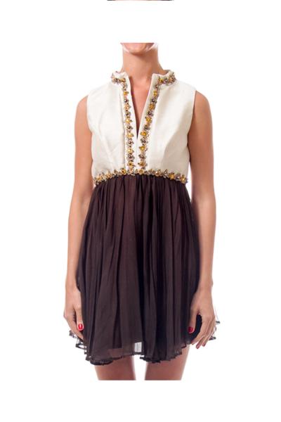 Cream & Brown Jeweled Beaded Dress