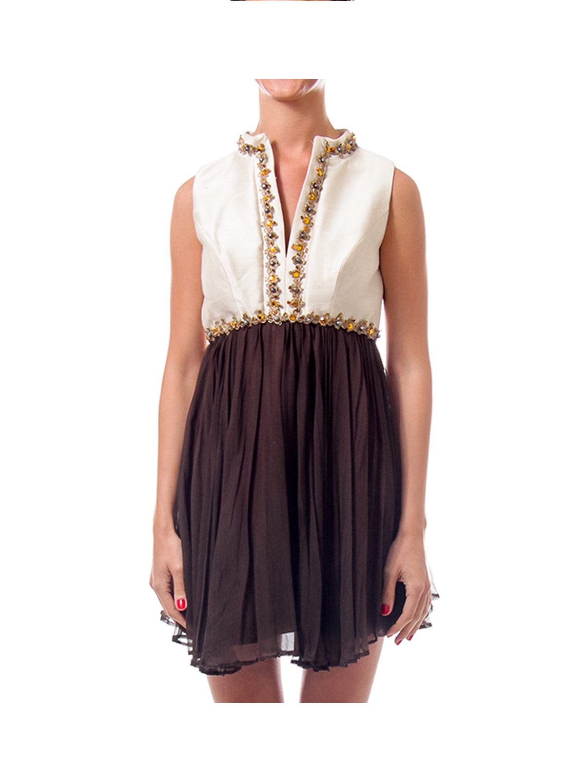 Cream & Brown Jeweled Beaded Dress