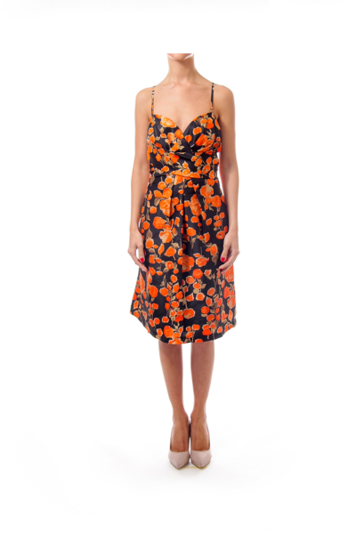 Black & Orange Spaghetti Strap Empire Dress