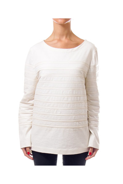 Cream Leather Trim Sweatshirt