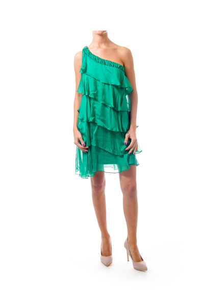 Green Ruffle One Shoulder Dress