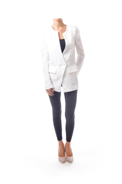 White Collarless One Button Blazer