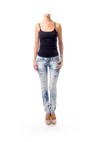 Light Blue Washing Skinny Jeans