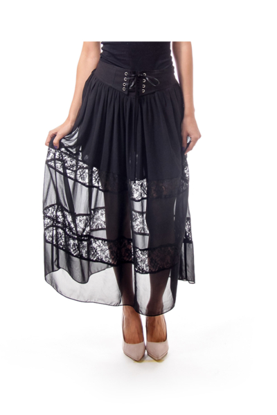Black Lace Seethrough Maxi Skirt