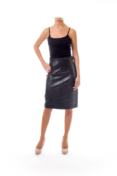 Black Leather Highwaisted Pencil Skirt