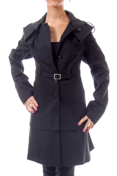 Black Fitted Trench Coat with Hood