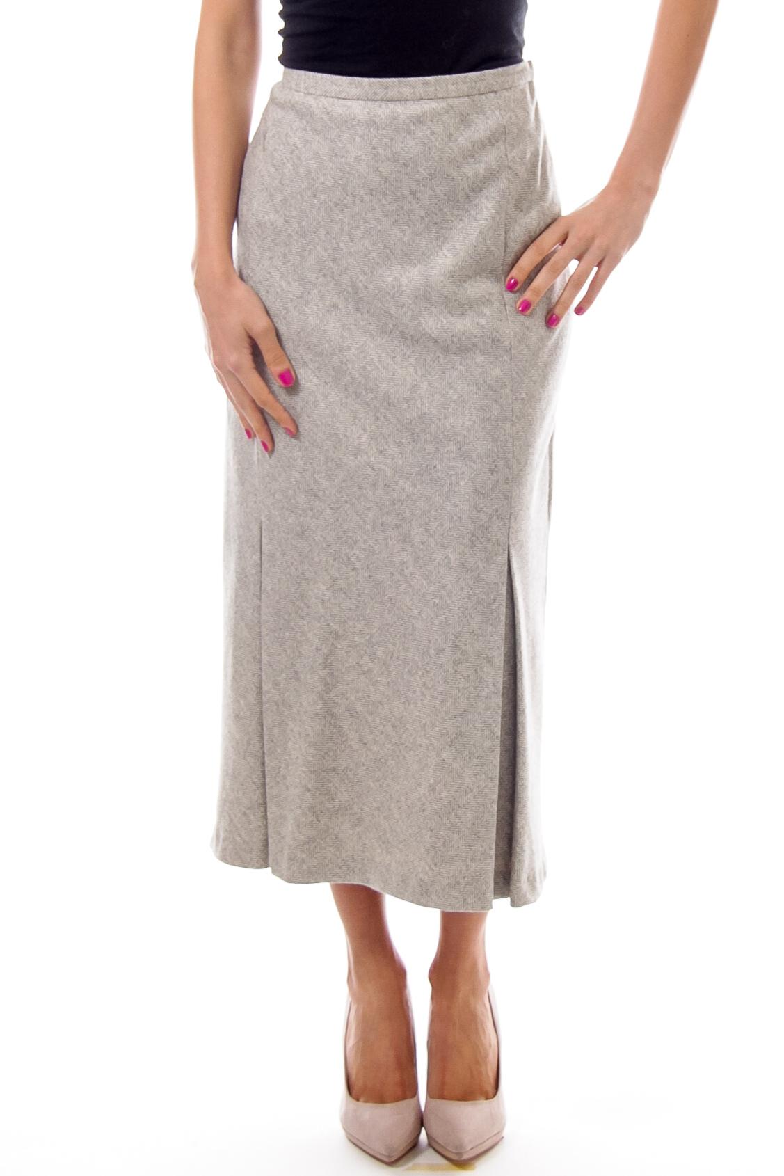 Grey Wool Long Pencil Skirt