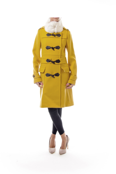 Mustard Wool Rabbit Fur Coat