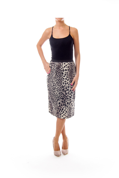 Black and Ivory Animal Print Pencil Skirt
