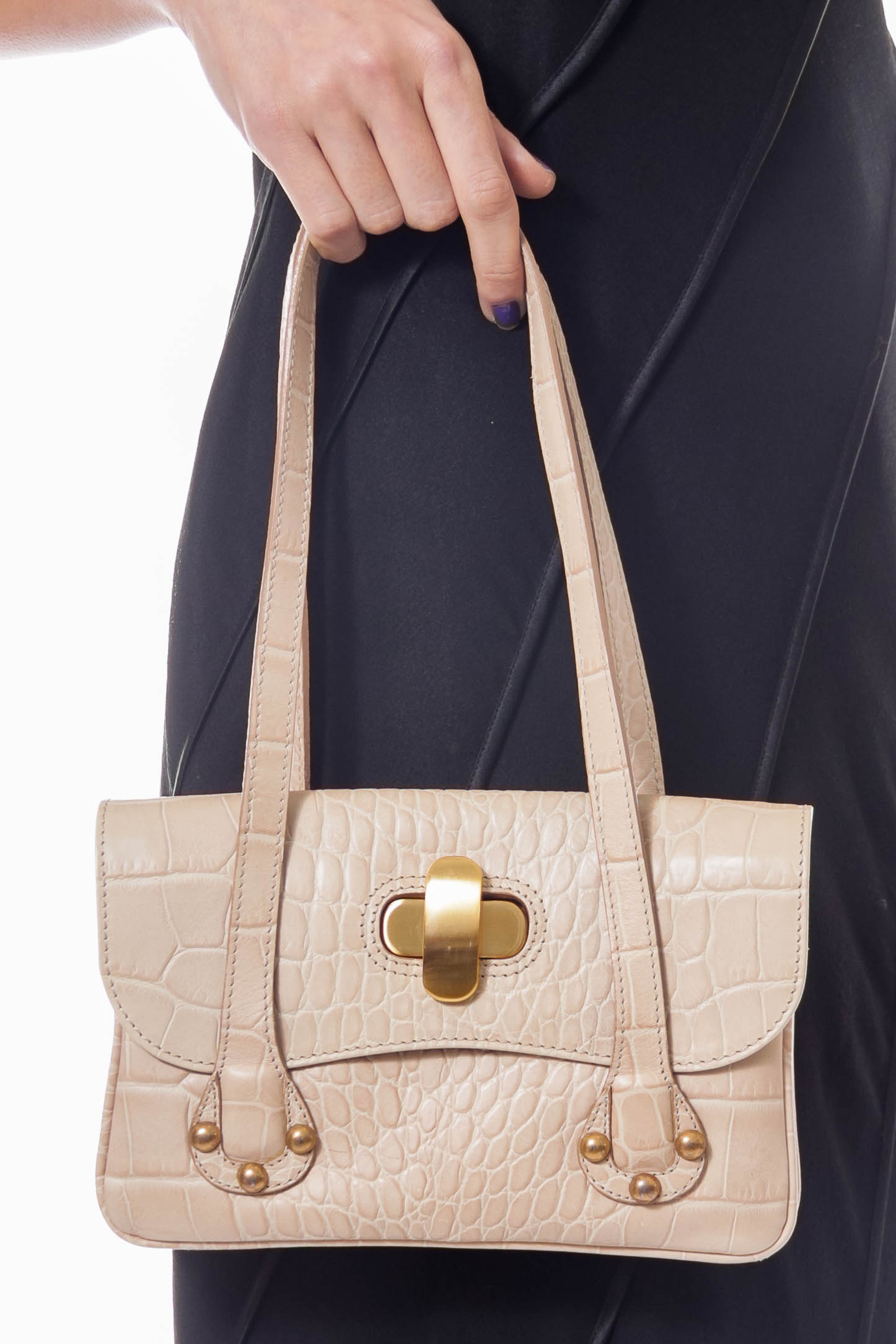 Beige Crocodile Pattern Mini Tote