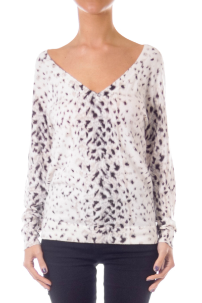 Cream V-neck Animal Print Sweater
