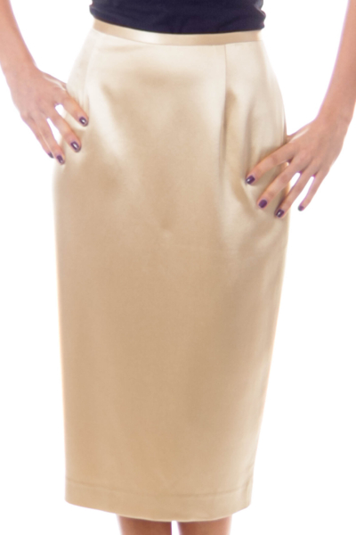 Champagne Silk Pencil Skirt