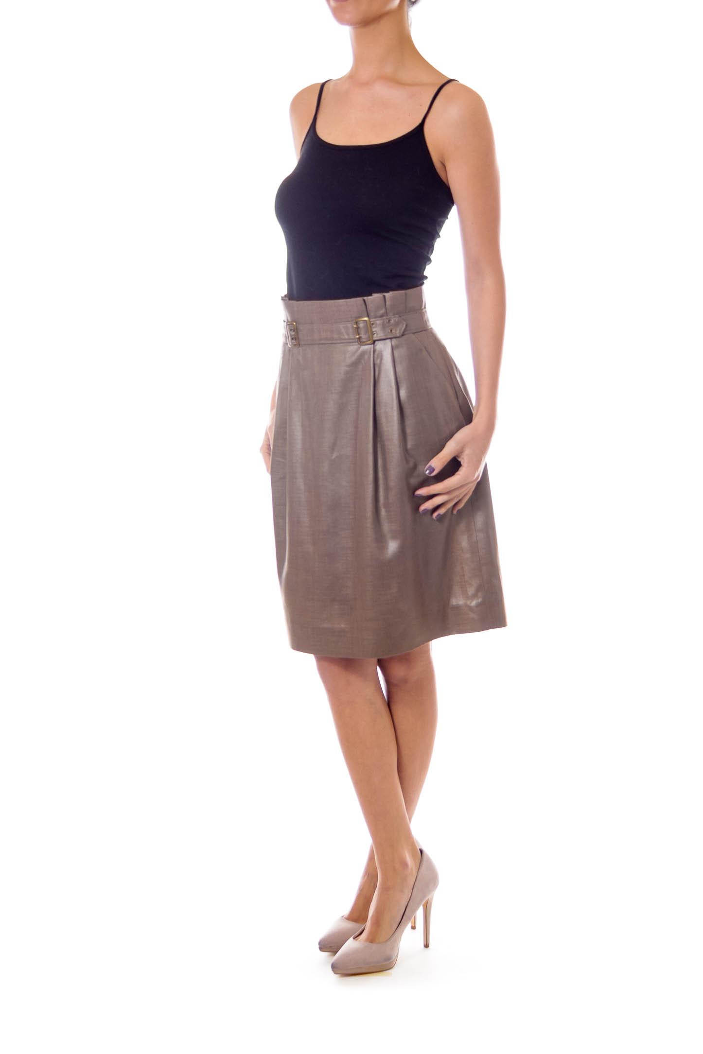 Taupe Shiny High Waist Buckled Skirt