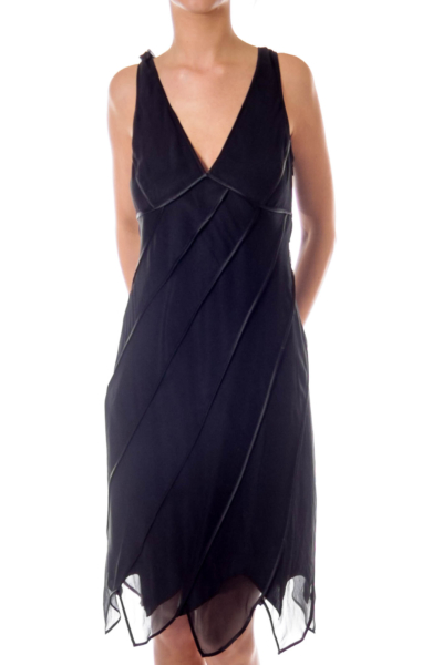 Black V-neck Cocktail Dress