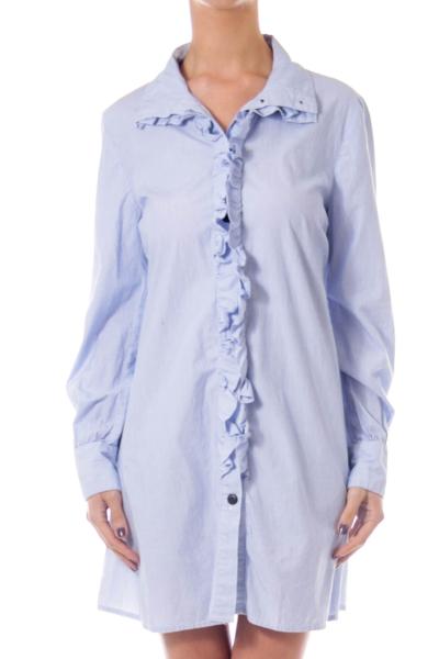 Blue Pinstripe Ruffle Shirt Dress