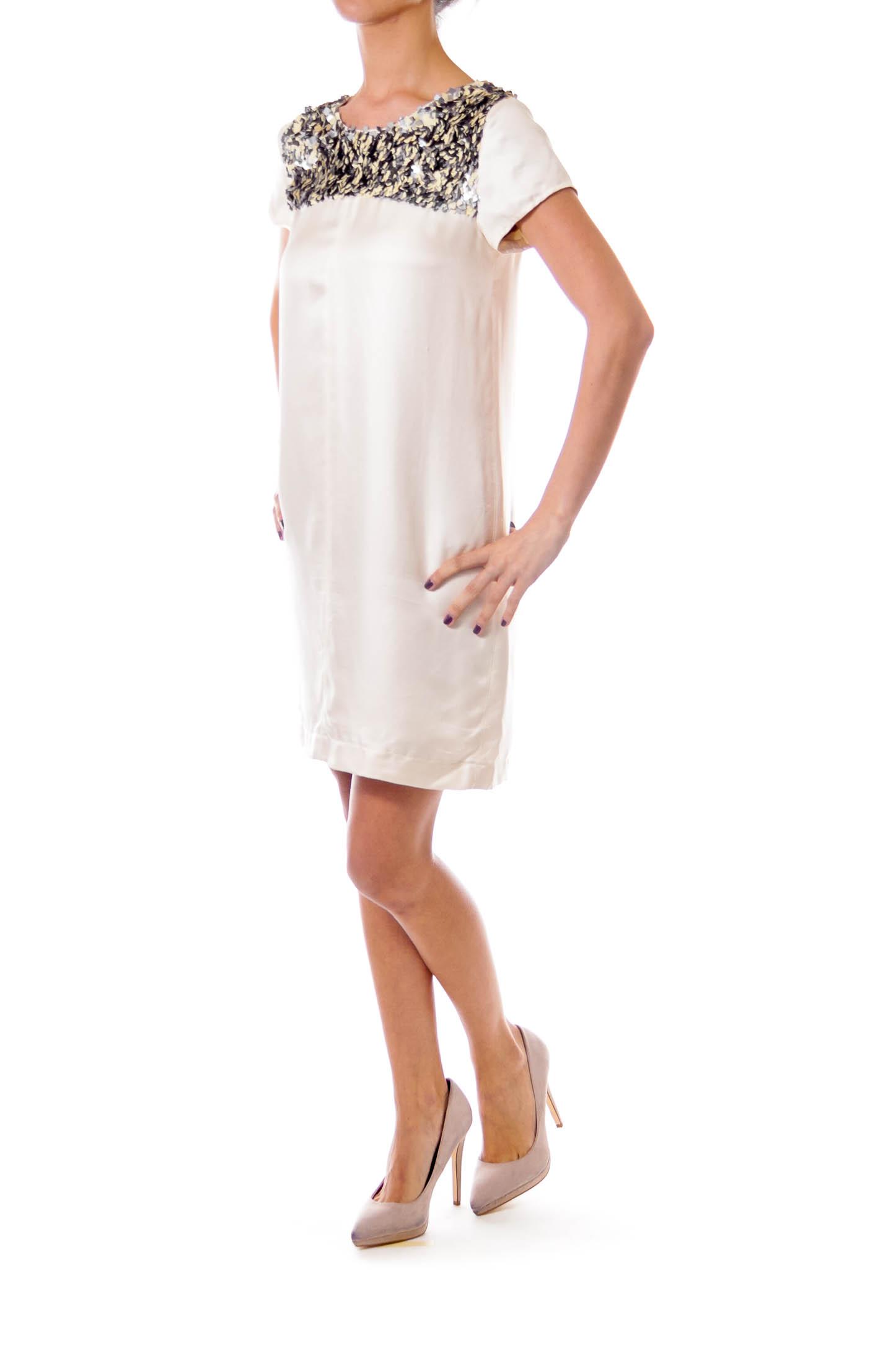 Cream Sequin Detailed Shift Dress