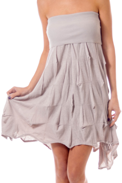 Biege Knit Strapless Dress