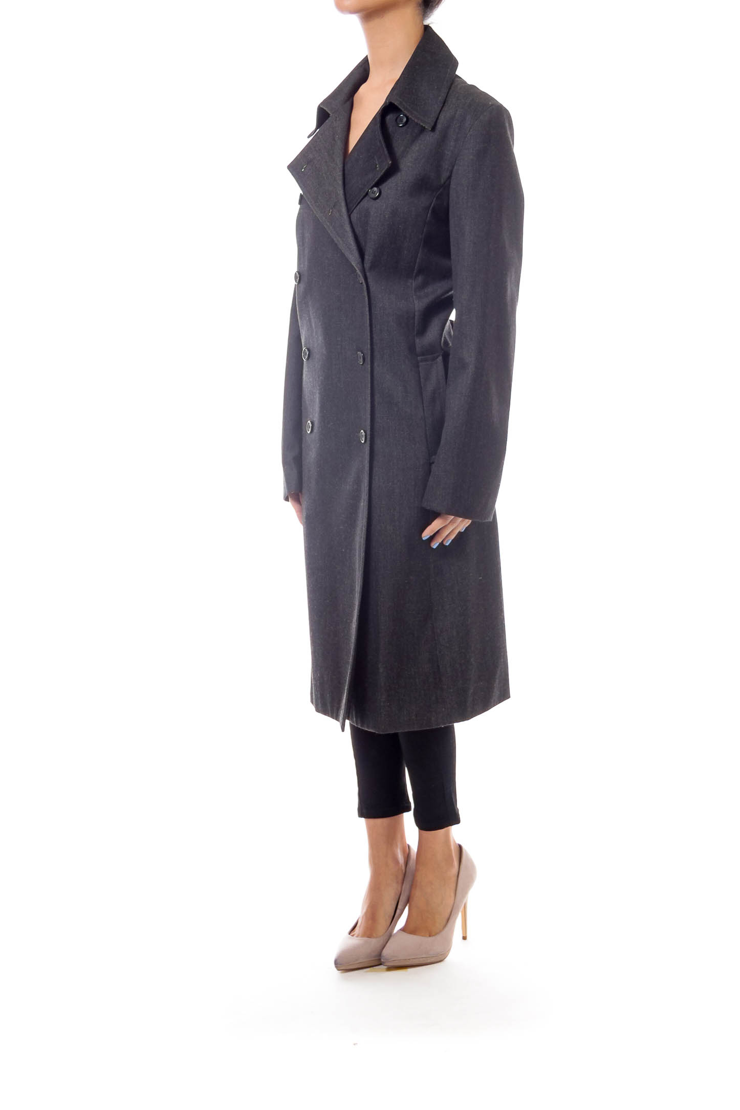 Gray Double Button Trench Coat