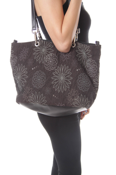 Charcol Flower Embroidery Fabric Tote