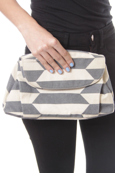 Gray & Beige Stripe Clutch