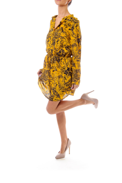 Mustard & Black Scrunch Waist Dress