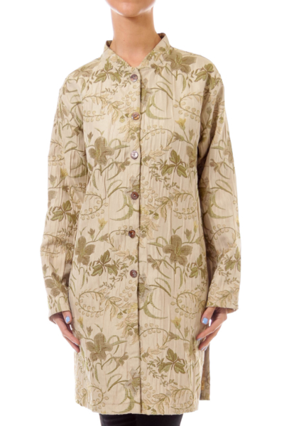 Beige Flower Embroidery Button Down Coat