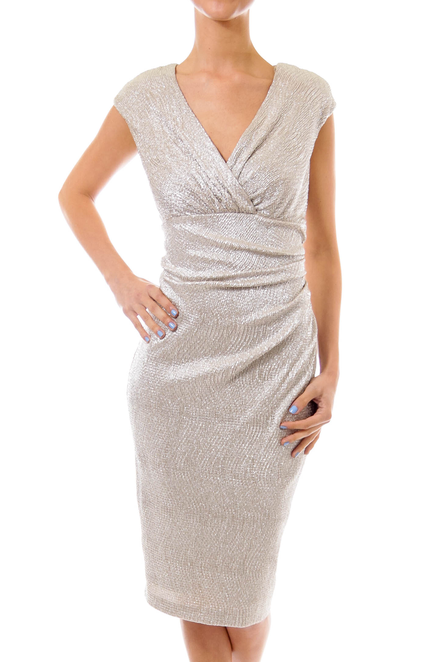 Ivory Metallic Empire Dress