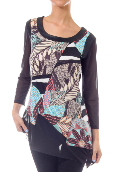 Black Patch Print Blouse