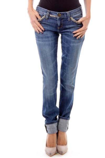 Blue Studded Skinny Jeans