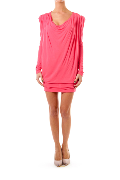 Coral Long Sleeve Jersey Dress